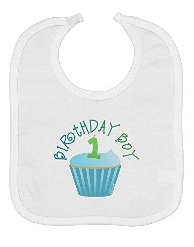 TooLoud Cute First Birthday Cupcake - Birthday Boy Baby Bib - White