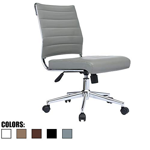 2xhome Modern Ergonomic Executive Mid Back PU Leather No Arms Rest Tilt Adjustable Height Wheels Cushion Lumbar Support Swivel Office Chair Conference Room Home Task Desk Armless (Grey)