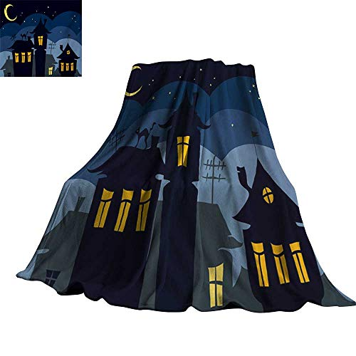 Angoueleven Halloween,Plush Throw Blanket Old Town with Cat on The Roof Night Sky Moon and Stars Houses Cartoon Art Blanket for Bed Couch 70