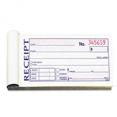 Landlord Rent Receipt - Money/Rent Receipt Book 2-Part Carbonless 2-3/4