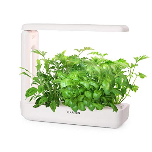 Klarstein GrowIt Cuisine Smart Indoor Garden • 18-Piece Plant Set with Lighting • Indoor Greenhouse • Hydroponic Indoor Garden System • 10 Plants • 25 Watts • LED Lighting • 2-Litre Water Tank • White