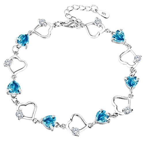 EleQueen 925 Sterling Silver CZ Love Heart of Ocean Titanic Inspired Tennis Bracelet, 7.2
