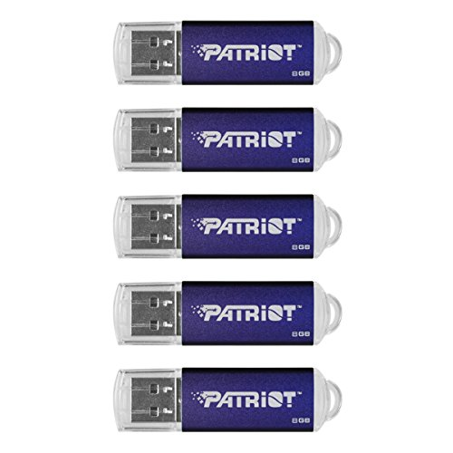 Patriot Memory 8GB Pulse Series USB 2.0 Flash Drive, 5 Pack, Blue (PSF8GXPPN5PK)