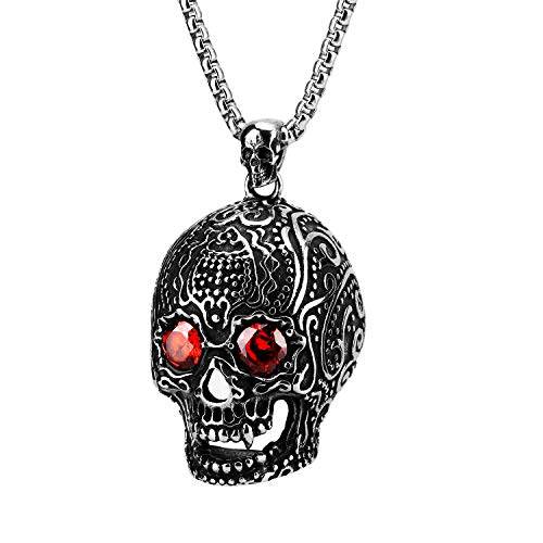 Gothic Skull Necklace, Vintage Skull Pendant Punk Style Alloy Steel Material for Men Women(26'', Silver Black) ()