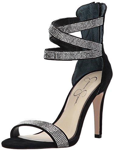 Jessica Simpson Womens Elepina Tacco Camoscio Nero Sandalo