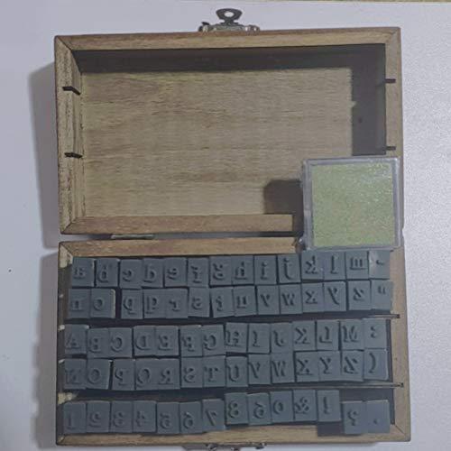 lphabet Stamps Set 70 pcs Rubber Stamps Vintage Wood Box Letter Seals Symbols Number Stamps Set with Golden Ink Pad,