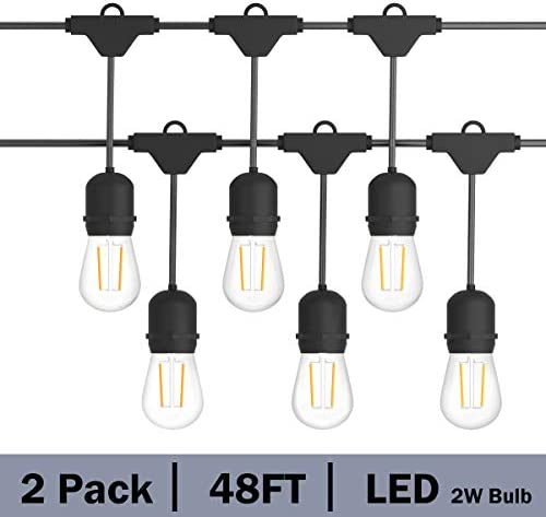 Costzon LED String Lights, 48 Ft Waterproof Commercial Grade Decorative Outdoor String Lights, UL Listed, 15 Hanging Sockets, 16PCS S14 2W LED Bulbs, Suitable for Garden Caf Wedding Malls 2 Pack