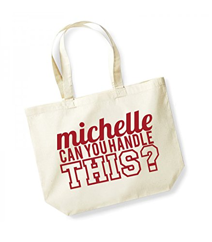 Michelle Can Cotton Canvas This Handle red Kelham You Slogan Natural Bag Print Unisex Tote q8f1Cg