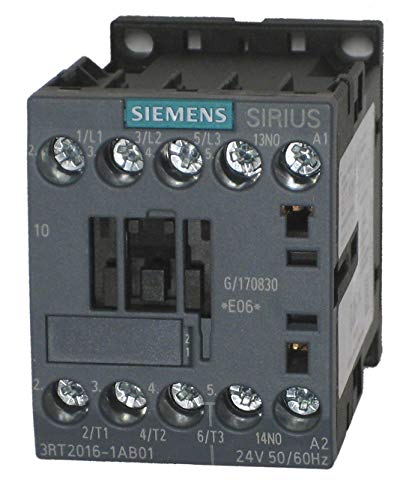 Siemens 3RT2016-1AB01, 3 Pole, 9 Amps, 24VAC Coil, IEC Rated Contactors
