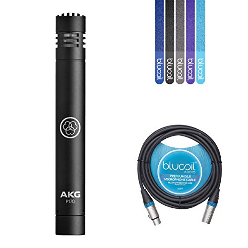 AKG Perception 170 P170 Condenser Microphone for Drum Overheads, Acoustic Guitars, Percussions Bundle with Blucoil 10-Ft Balanced XLR Cable and 5 Pack of Cable Ties ()