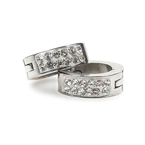 CHOP MALL Two Row Of Diamond Stainless Steel Earrings Af07 ()