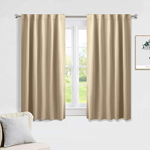 PONY DANCE Beige Blackout Curtains - Kitchen Window Drapes Short Heavy-Duty Soft Rod Pocket Curtain Draperies/Window Treatments for Nursery Bedroom, W 42 x L 45 Inches, Biscotti Beige, 2 Panels