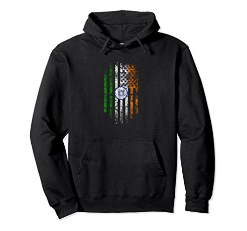 Unisex Indian American Flag - India Hoodie XL: Black -