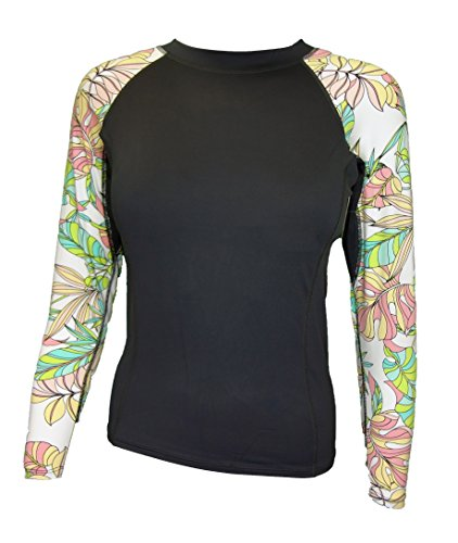 Maui Clothing Lena Long Sleeve Floral Rash Guard (Small, Charcoal)
