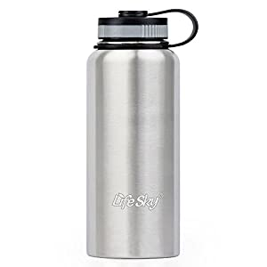 LifeSky Stainless Steel Sports Water Bottle - 950ml - Double-Wall Vacuum Insulation - Wide Mouth, Leak proof (32oz),Silver