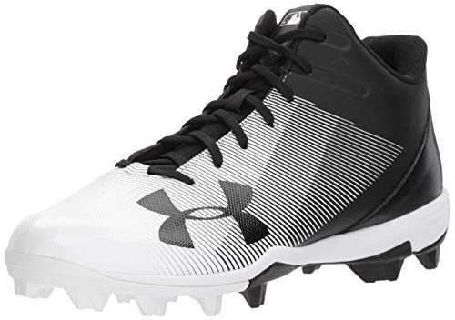 Under Armour Men's Leadoff Mid RM Baseball Shoe Black (001)/White 9.5