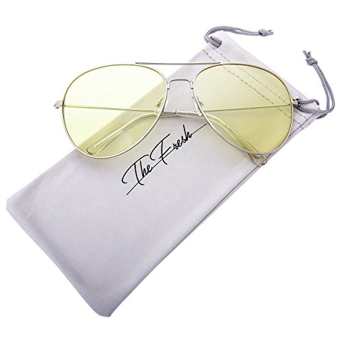 The Fresh Classic Metal Frame Light Color Lens XL Oversized Aviator Sunglasses with Gift Box (5-Silver, - Long Hut Sunglass Beach