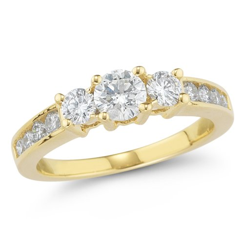 14k Yellow Gold Diamond Engagement Ring (1.00 Cttw H-I Color, I1-I2 Clarity), Size 7