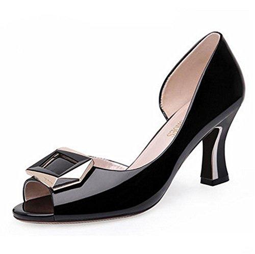 t¨ºte de talons hauts de poisson des pengweiSandales d'¨¦t¨¦ et de avec mode ¨¦pais dames Black printemps chaussures WqqnPv