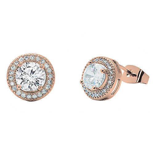 None Round Rose (Cate & Chloe Mariah 18k Rose Gold Plated Round Cut CZ Halo Stud Earrings, Sparkling Cluster Stud Rose Gold Earring Set w/Solitaire Round Cut Gemstone, Wedding Anniversary Jewelry MSRP - $150)
