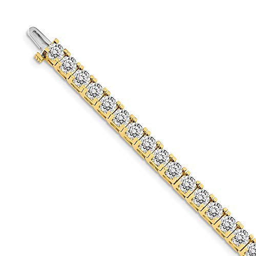 Mia Diamonds Solid 14k Yellow Gold 16.00ctw. Near Colorless Moissanite 4 Prong Tennis Bracelet