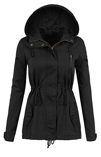 (Womens Lightweight Lined Zip Up Fashion Safari Hoodie Jacket Black Large)