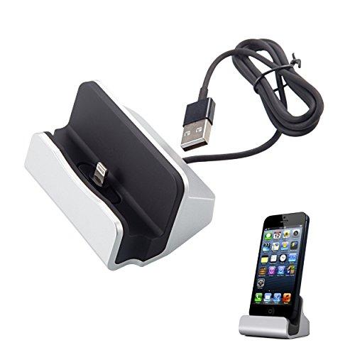 Liamoo lightning Daten- u. Ladestation für iPhone 5/5s/5c, iPhone 6/6s, iPhone 7, iPod Docking Station in silber