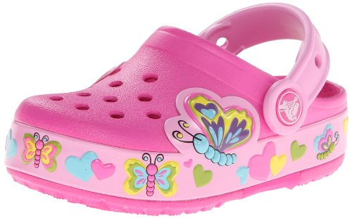 crocs Kids' Butterfly PS Light-Up Clog ,Neon Magenta/Carnati