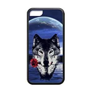 Howling wolf with Moon The wolf Mouth with roses Custom case covers Case For Sumsung Galaxy S4 I9500 Cover