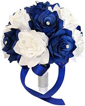 Royal Blue Satin Rhinestone Rose Bridal Wedding Bouquet /& Boutonniere