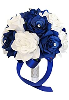 Amazon boutonniere royal blue white rose with white mini rose 9 wedding bouquet royal blue white artificial roses with rhinestone decor mightylinksfo Choice Image