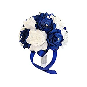 "Angel Isabella 9"" Wedding Bouquet: Royal Blue & White Artificial Roses with Rhinestone Decor 27"