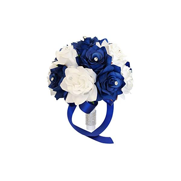 Angel Isabella 9″ Wedding Bouquet: Royal Blue & White Artificial Roses with Rhinestone Decor