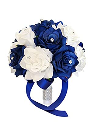 Amazon 9 wedding bouquet royal blue white artificial roses amazon 9 wedding bouquet royal blue white artificial roses with rhinestone decor home kitchen mightylinksfo