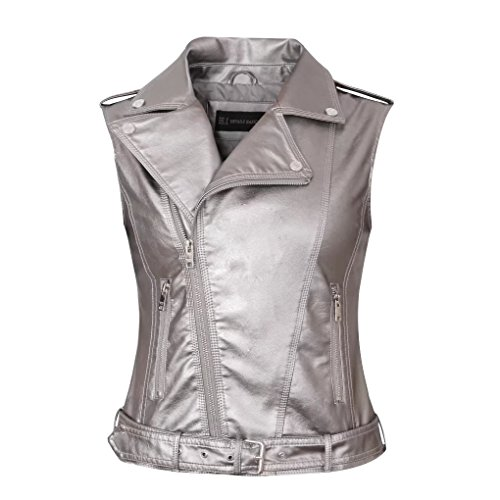 Daxvens Womens Motorcycle Biker Faux Leather Vest Slant Zip with Pockets ()