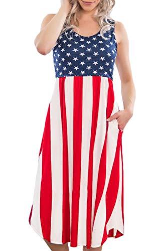 July 4th Women Flowy Summer Midi Tank Dress Elastic Waist Beach American Flag Sleeveless Sundress S]()