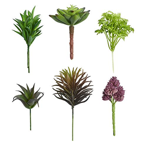 Artificial Faux Assorted Plant Succulents - Pack of 6 Small Mini Decorative Fake Flower Home Decor Pick for Indoor or Outdoor Garden, Terrarium, Aquarium, Large Pot, or Wall Planter Hanger (Spring) (Wall Garden Spring)