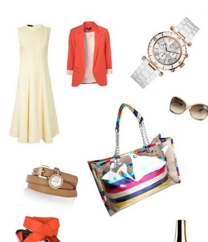 Buenocn Clear Transparent Tote Shoulder Bag Satchel Beach Handbag for Women Shy4 (stripe)