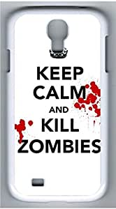 Samsung Galaxy S4 I9500 White Hard Case - Keep Calm And Zombies Galaxy S4 Cases