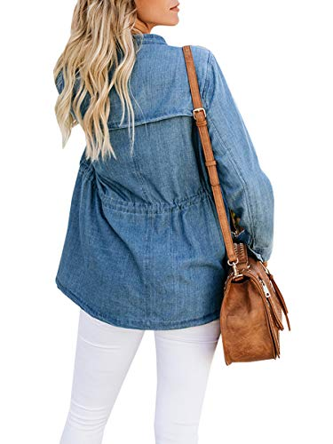 Haloumoning Womens Casual Denim Coat Open Front LooseEmpire Waist Stand Collar Trench Outwear by Haloumoning (Image #2)