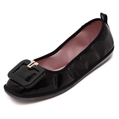 Weenfashion Pull-on Dichte, Dichte Teen Stevige Flats-schoenen Met Decoratie Zwart (gesp)