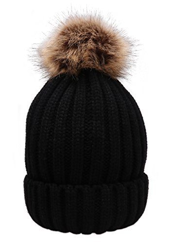 84e2ecdc5f69e MSG Women Warm Knit Hat Detachable Faux Fur Pom Winter Beanie M30 (Black)