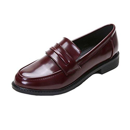 Giy Clásico Mocasines Penny Slip-on Casual Low Flat Comfort Business Vestido Oxford Zapatos Vino Rojo