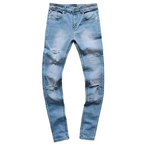 Jeans A In Pantaloni Saoye Vivaci Estivi Denim Casual Moto Streetwear Colori Distrutti denim Da Blau Uomo Slim Fit Fashion Giovane rn0zwxq0I