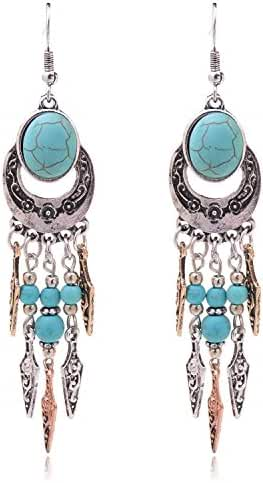 Ginasy Sterling Silver Plated Long Imitation Turquoise Oval Stud Drop Earrings