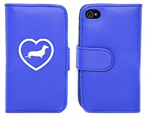 Blue Apple iPhone 5 5S 5LP58 Leather Wallet Case Cover Dachshund Heart