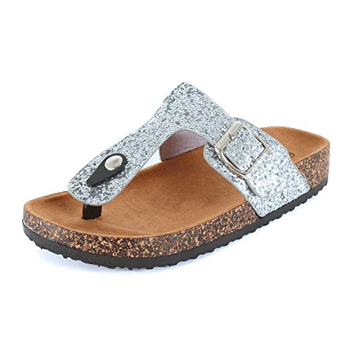 (Womens Slippers Double Strap Easy Slip On Flip Flops Thong Casual Slides Sandals Flats (6 M US, Silver Glitter))