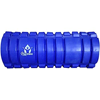 Top Rated Eva Foam Roller-Hollow Core Grid Design For Trigger Point,Pressure Points,Exercise,Muscle Stretches,Deep Tissue Workout For Back,Hamstring,Hip,Calves,Glutes,Portable Massage Roler (BLUE)