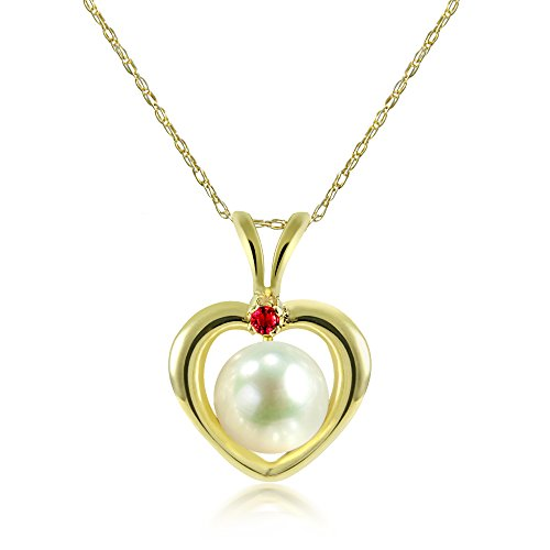 La Regis Jewelry 14KY Gold Heart Shape Pendant 5-5.5mm White Freshwater Cultured Pearl .05tcw Simulated Red Ruby, 18