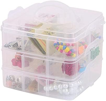 3-Tier Clear Stackable Storage Box with Compartments Bead Organizer Case On-The-Go Craft Keeper Tool Storage Box Jewelry Box Kids Jewellery Box w//Dividers Sooyee Stackable Arts /& Crafts Case